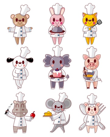 cartoon animal chef icons set Stock Vector - 9936299