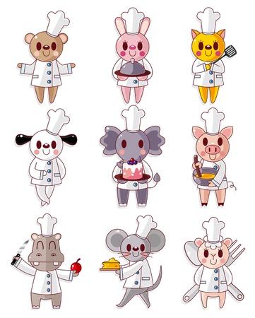 cartoon animal chef icons set Vector
