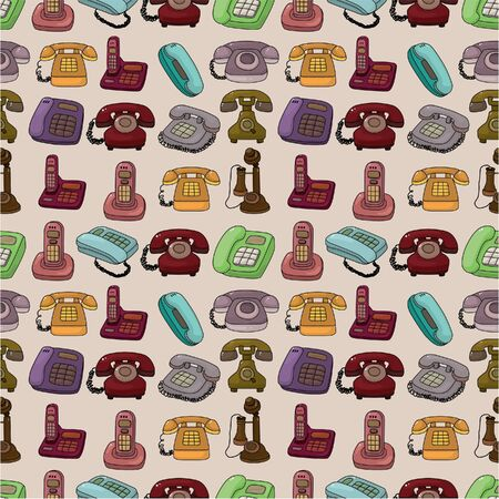 funny retro cartoon phone seamless pattern Vector