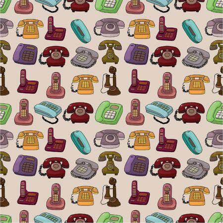 funny retro cartoon phone seamless pattern
