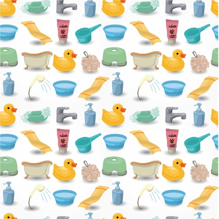 cartoon Bathroom Equipment seamless pattern Stock Vector - 9936302