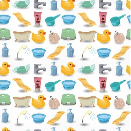 cartoon Bathroom Equipment seamless pattern 向量圖像