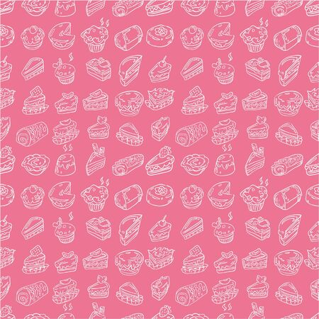 hand draw cake seamless pattern Vector
