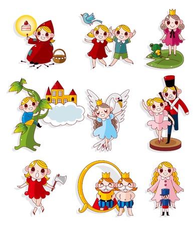 princess frog: conjunto de iconos de dibujos animados historia personas Vectores