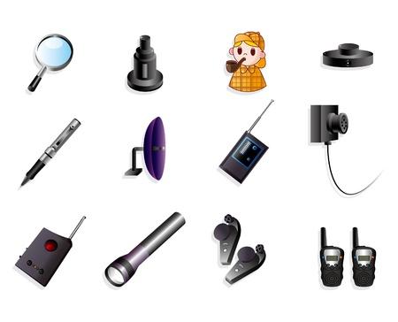 taschenlampe: Cartoon Detektiv Ausr�stung Icon-set