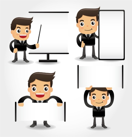 young worker: set of funny cartoon office worker icon