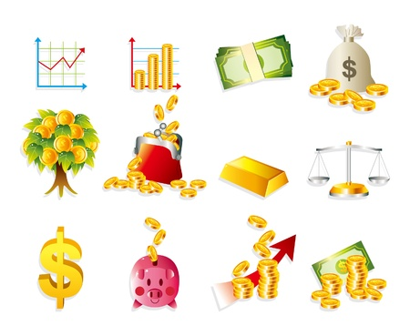 dibujo animado de conjunto de iconos de dinero & de Finanzas Foto de archivo - 10012241