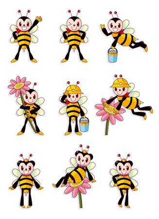 cute bee icons set Vector