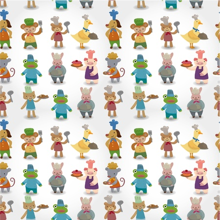 cartoon animal chef seamless pattern Vector