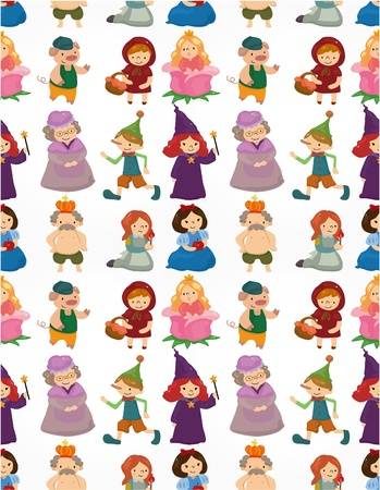 medieval woman: cartoon story people seamless pattern