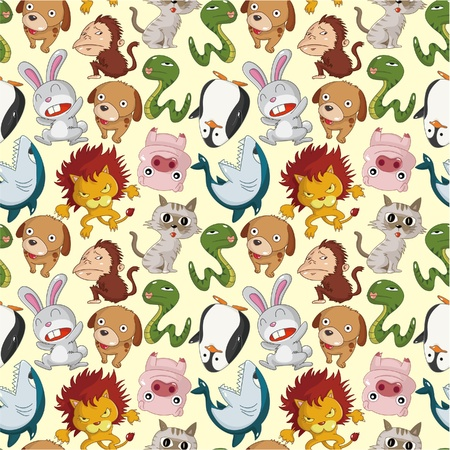 monkey face: cartoon animal seamless pattern Illustration