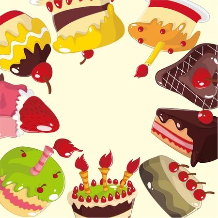 cute cartoon cake card Stock Vector - 10012235