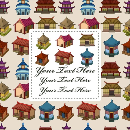 cartoon Chinese house seamless pattern Stock Vector - 10012242
