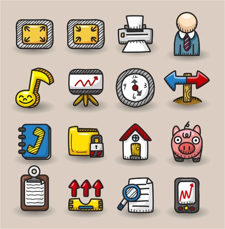 hand draw web icons collection Vector
