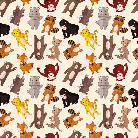 animal texture: cartoon animal seamless pattern Illustration
