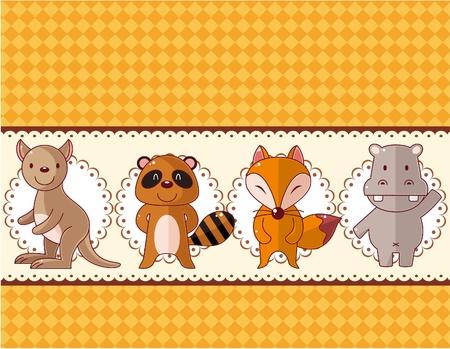 cartoon animal card Vector