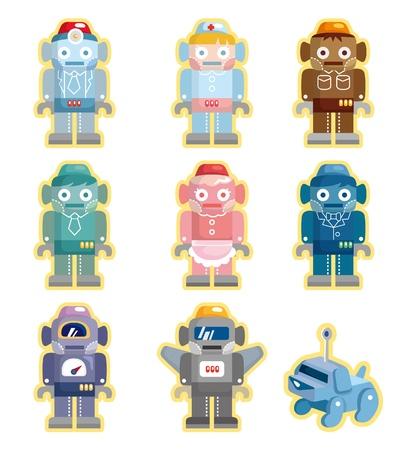 bionico: robot cartoon icons set Vettoriali