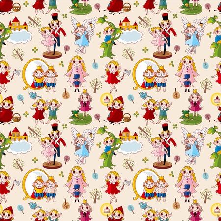 swan lake: cartoon story people seamless pattern