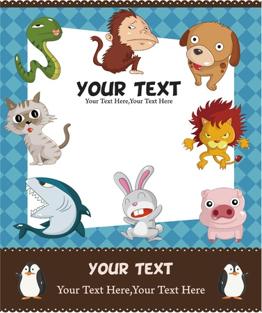 cartoon animal card  Vector