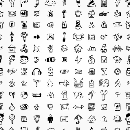 computer icon set: hand draw web icons seamless pattern