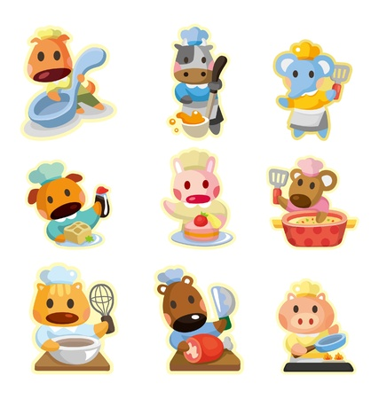 soup spoon: cartoon animal chef icons collection,vector