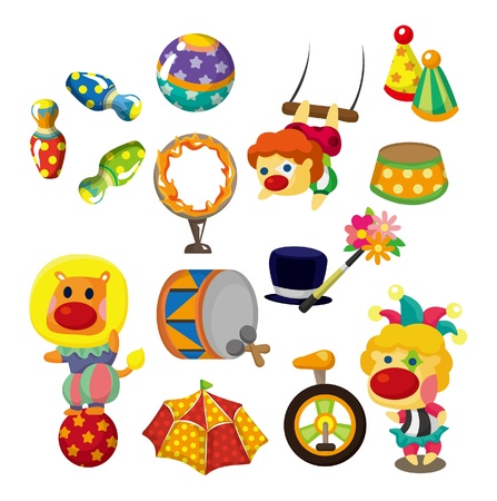 cartoon circus: cartoon happy circus show icons collection Illustration