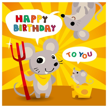 cartoon mouse friend birthday card 일러스트