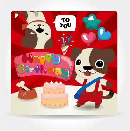 Birthday card, dog friends.  Vector