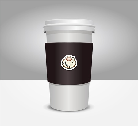 take away: 3d coffee cup vector illustration