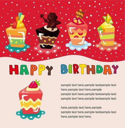 cartoon cake birthday card  Vector