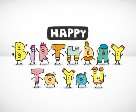 happy young people: cartoon Letters Birthday card Illustration