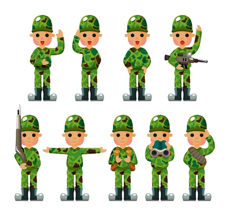 cartoon Soldier icons set Stock Vector - 10046858