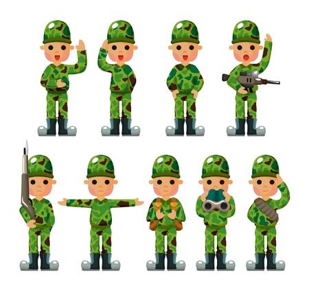 salut: tecknad soldat ikoner som