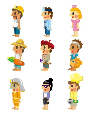 fishmonger: cartoon people job icons set
