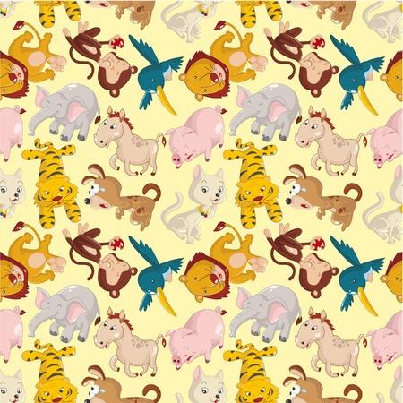 cartoon animal seamless pattern Stock Vector - 10046863
