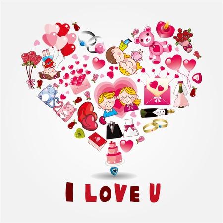 tarjeta de amor de dibujos animados Ilustración de vector
