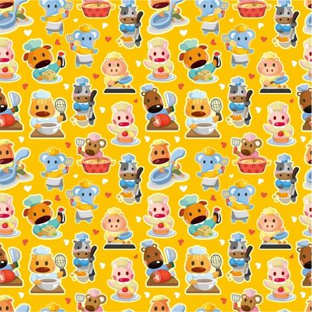 cartoon animal chef seamless pattern Vector
