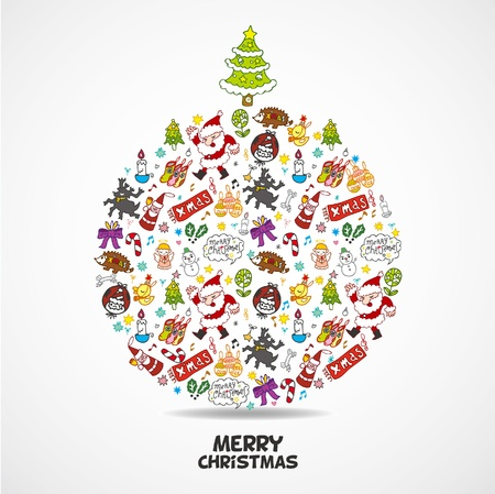 christmas ball: cute christmas card  Illustration