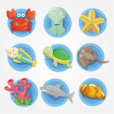 dibujo animado de conjunto de iconos de animales acuario, peces iconos Ilustración de vector
