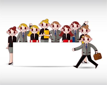office party: empleado de Oficina de SIME, con bandera blanca, vector