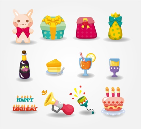 flower boxes: cartoon Birthday icon