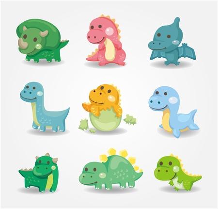dinosauro: icona di dinosauro del cartone animato  Vettoriali