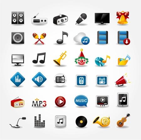 pictogrammes musique: m�dias et la musique ic�nes de collecte