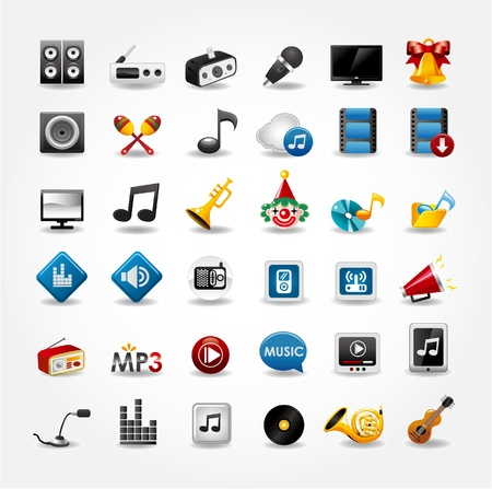 multimedia: media e musica Icons Collection