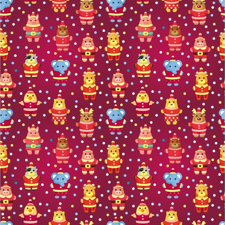 cartoon xmas party animal seamless pattern  Vector