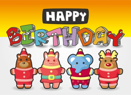 cartoon animal birthday card Vector