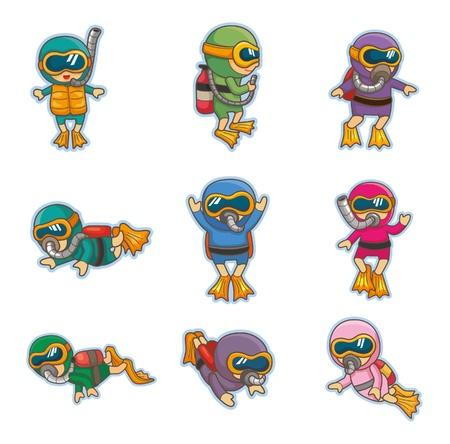 schnorchel: Cartoon-Taucher-Ikonen