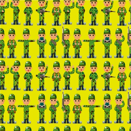 cartoon Soldier seamless pattern Stock Vector - 10061595