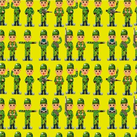 cartoon Soldier seamless pattern Vector