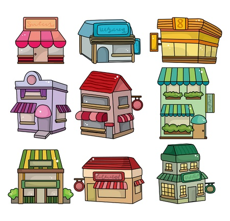 residences: cartoon shop card